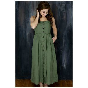 Who What Wear Sleeveless Button Down Maxi Dress S